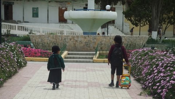 Two young children walk toward a fountain